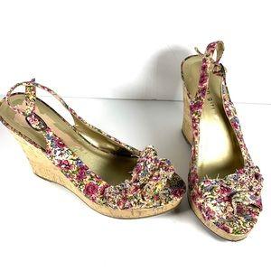 Multi color flower wedge open toe sandals